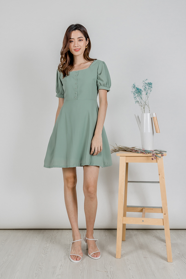 LELA PUFF SLEEVE  BUTTON DRESS (SAGE GREEN)