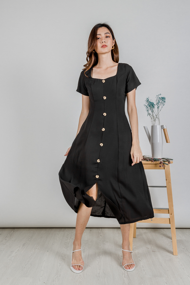DARA BUTTONED SLEEVE MIDIDRESS (BLACK)