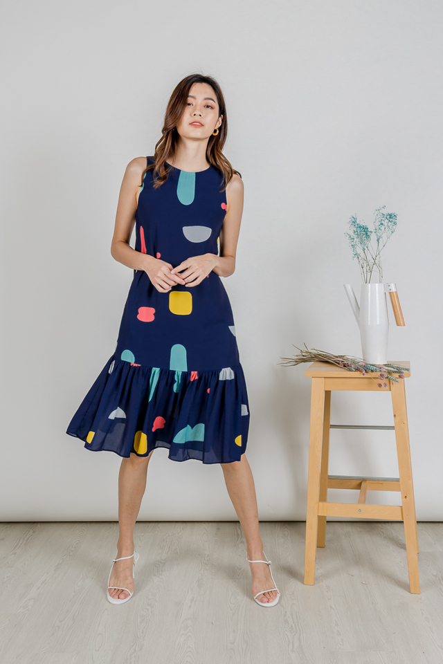 ABSTRACT RUFFLE HEM MIDI (NAVY)