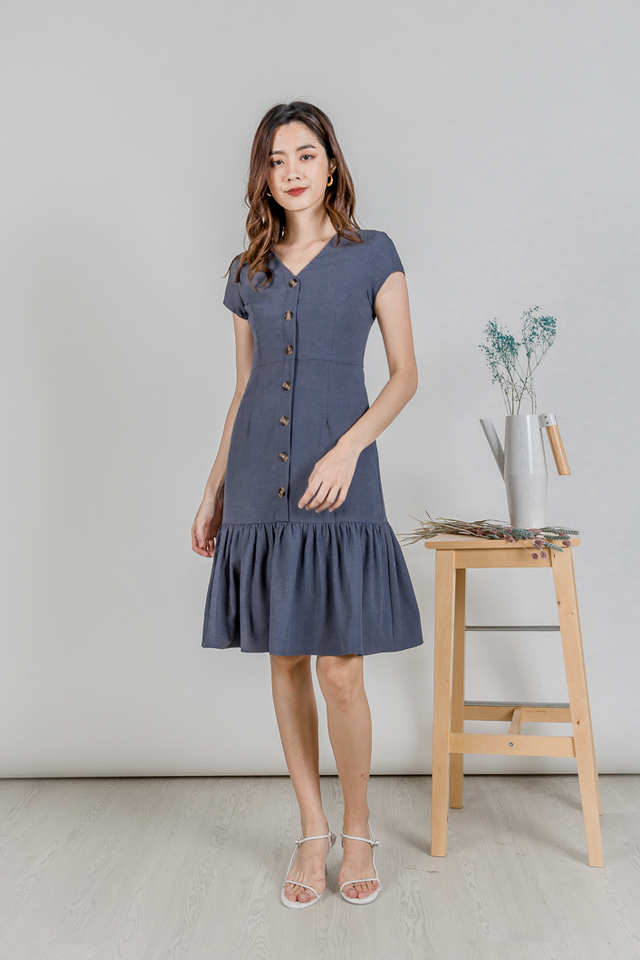 WIMBLY SLEEVE BUTTON RUFFLE MIDI (DUSTY BLUE)