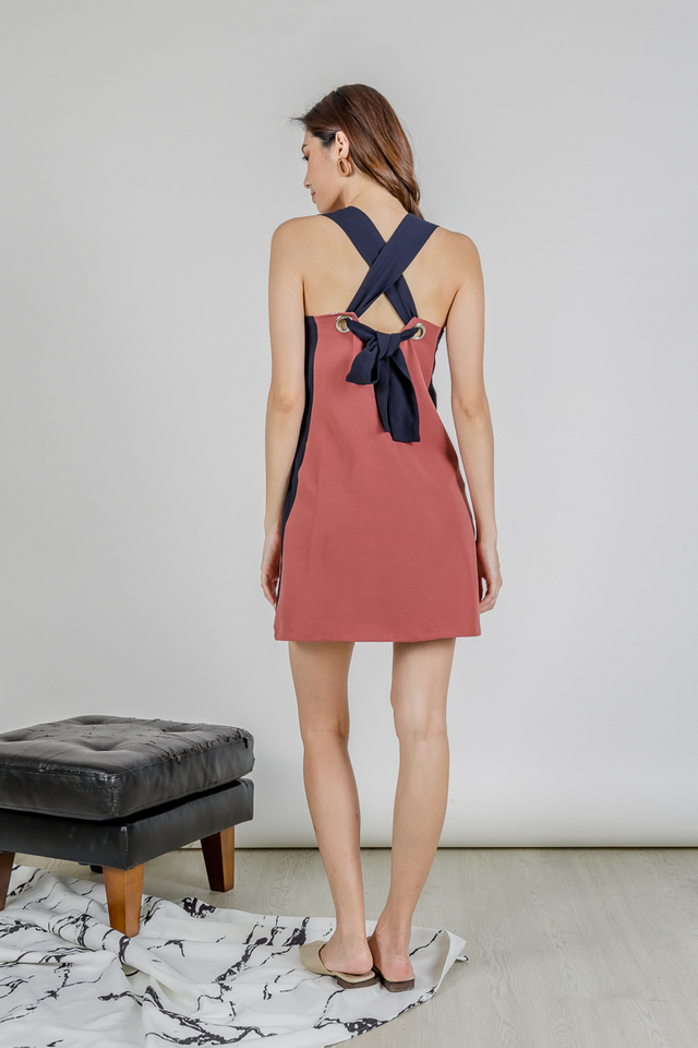 MELSON DUAL TONE KNOTTED DRESS (TEA ROSE/NAVY)