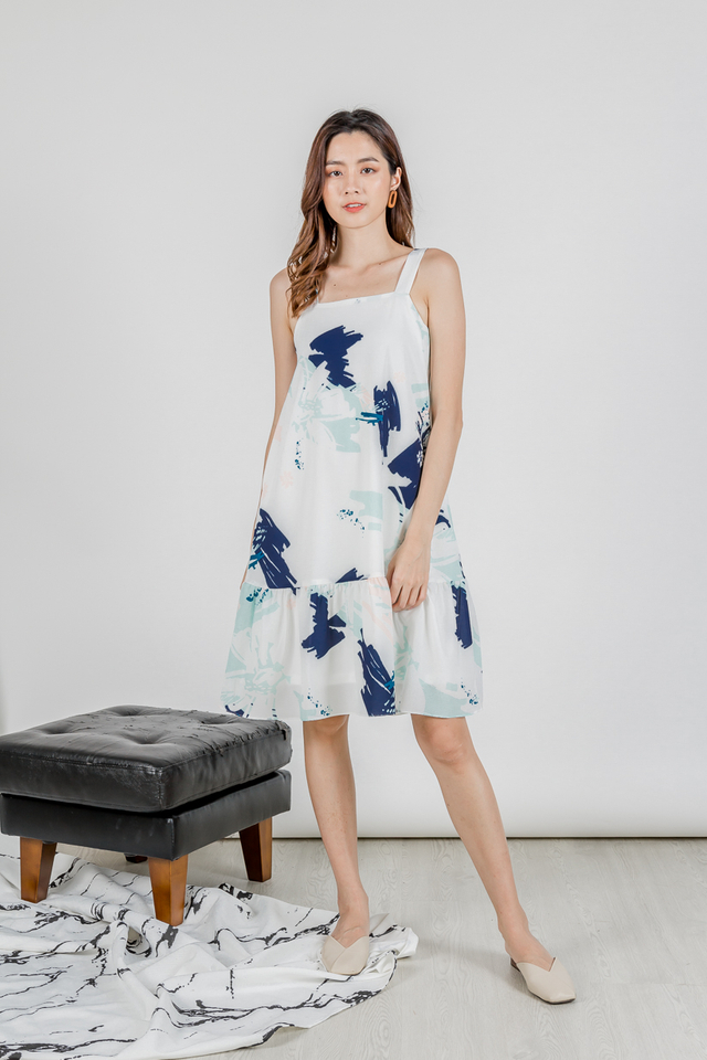 BLOOMING ABSTRACT RUFFLE HEM DRESS (NAVY)