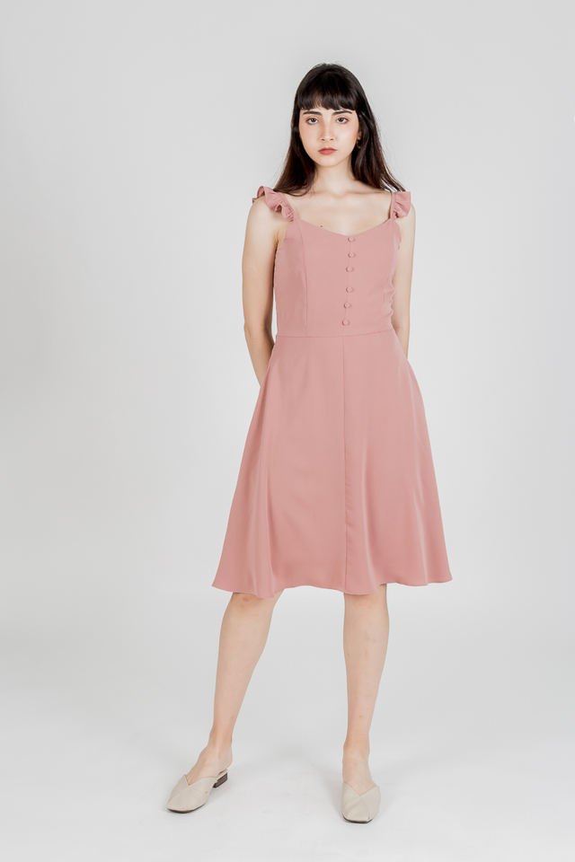 ROMANI RUFFLE SLEEVE BUTTON DRESS (ROSE WOOD)