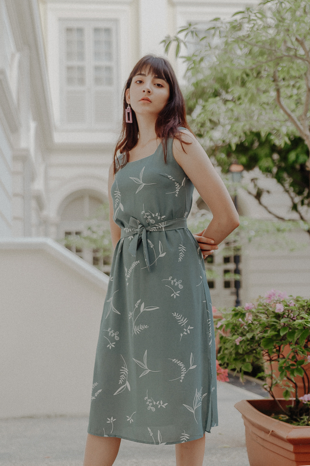 DONNA FOLIAGE PRINT MIDI DRESS (SAGE GREEN)