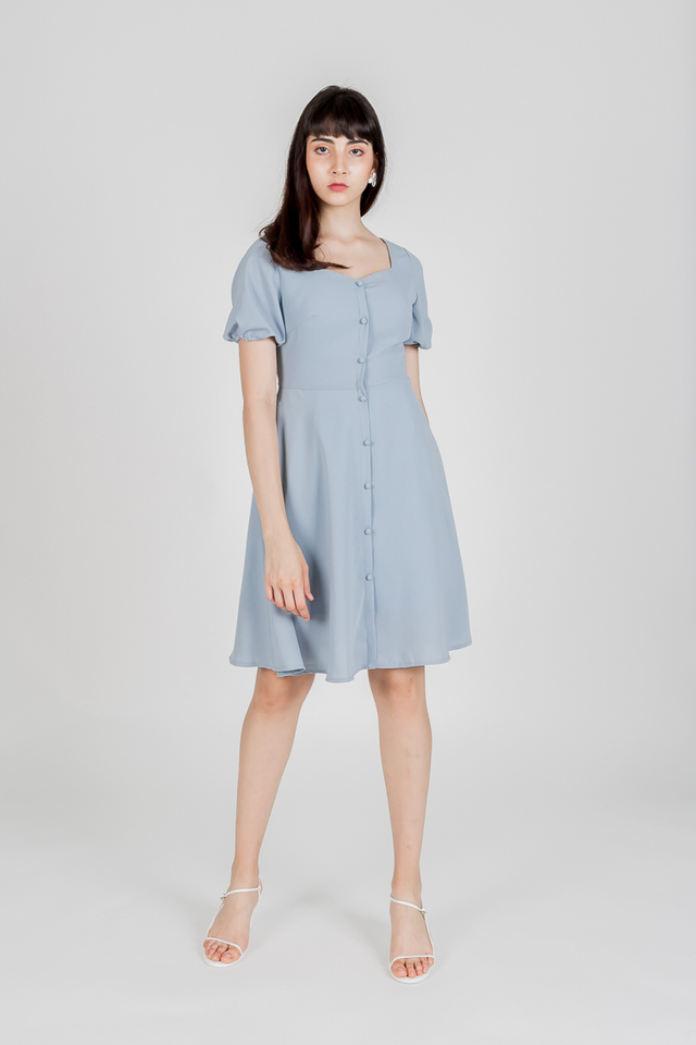 PUFF SLEEVE BUTTON DRESS (DUSTY BLUE)