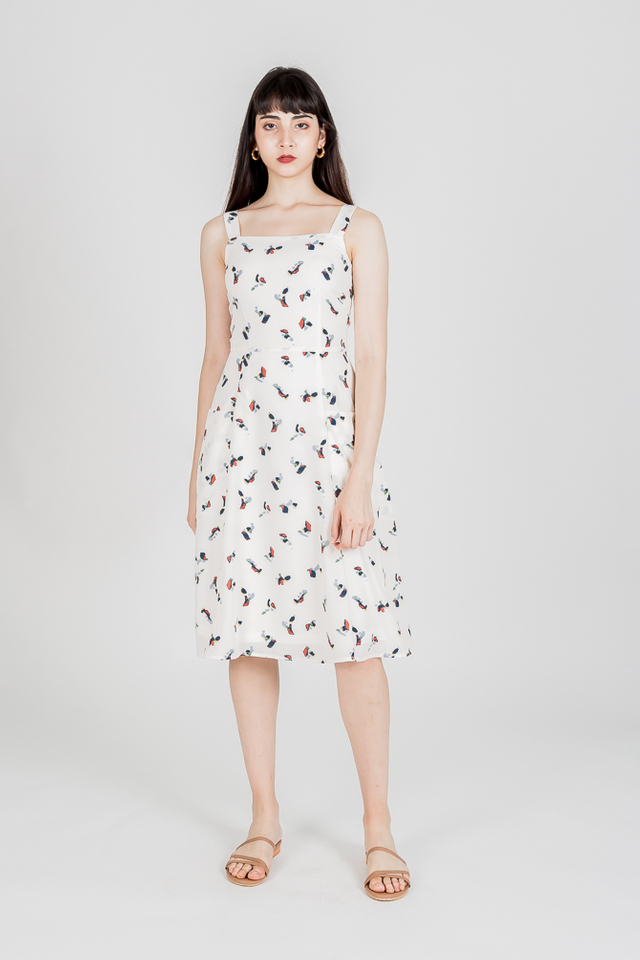 GRACIE PRINTED SKATER MIDI DRESS (CREAM)