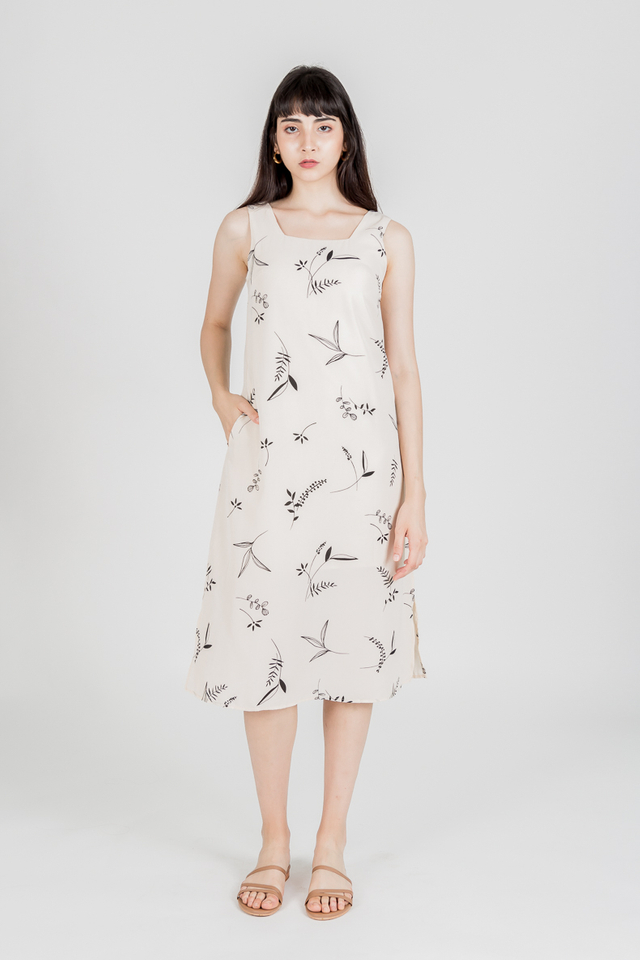 DONNA FOLIAGE PRINT MIDI DRESS (CREAM)