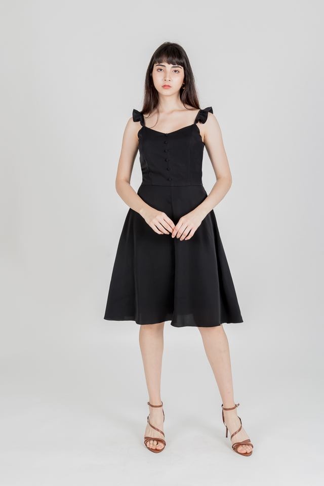 ROMANI RUFFLE SLEEVE BUTTON DRESS (BLACK)