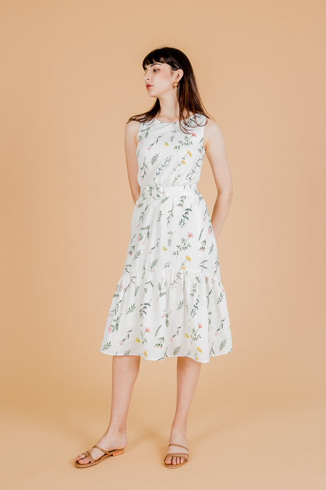 FOLIAGE FLORAL BELTED MIDI DRESS (WHITE)