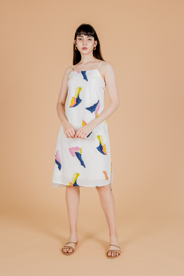 ABSTRACT SLIP ON MIDI DRESS (WHITE)