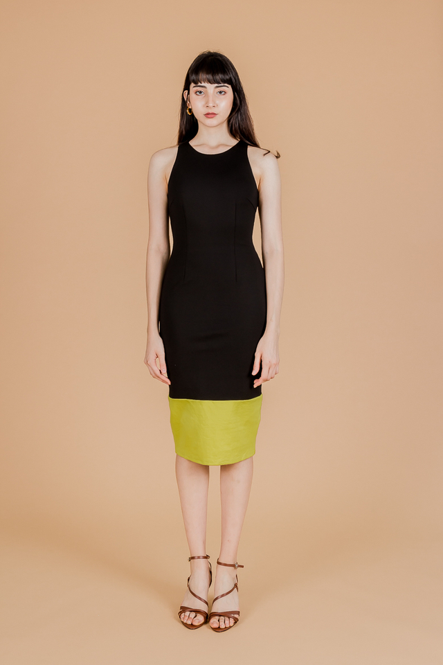 DUAL TONE BODYCON MIDI DRESS (BLACK/YELLOW)