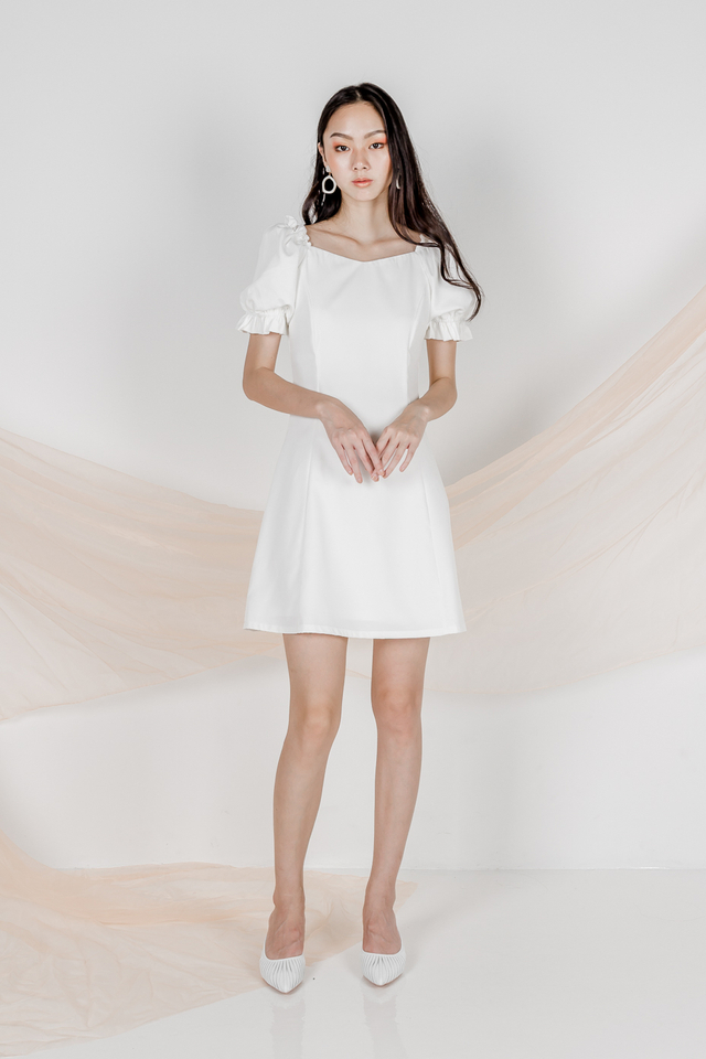 OLIVIA TWO WAY SLEEVE DRESS (WHITE)