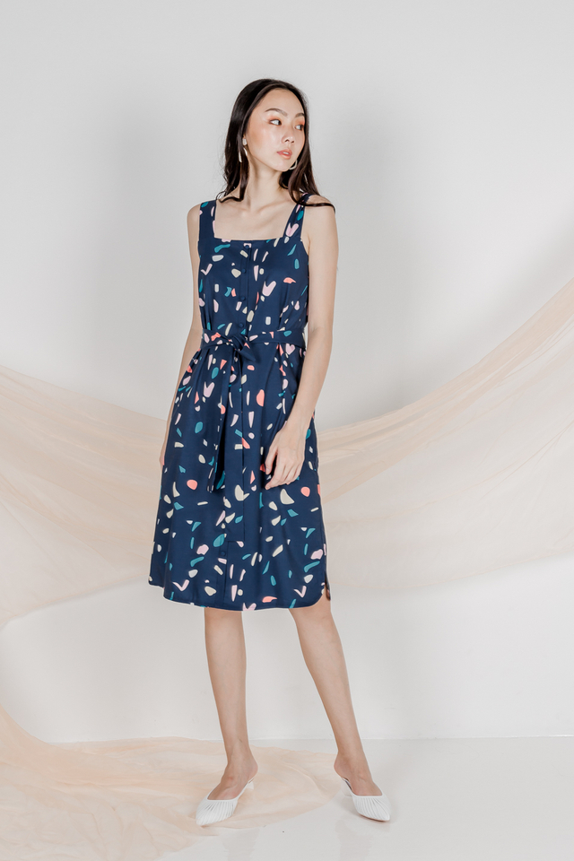 CONFETTI PRINT BUTTON MIDI (NAVY)