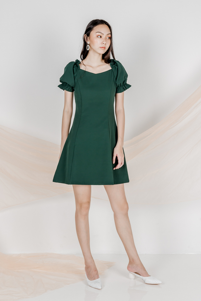 OLIVIA TWO WAY SLEEVE DRESS (FOREST GREEN)