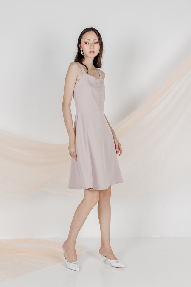 WINFRED BUTTON SKATER DRESS (ILIAC GREY)