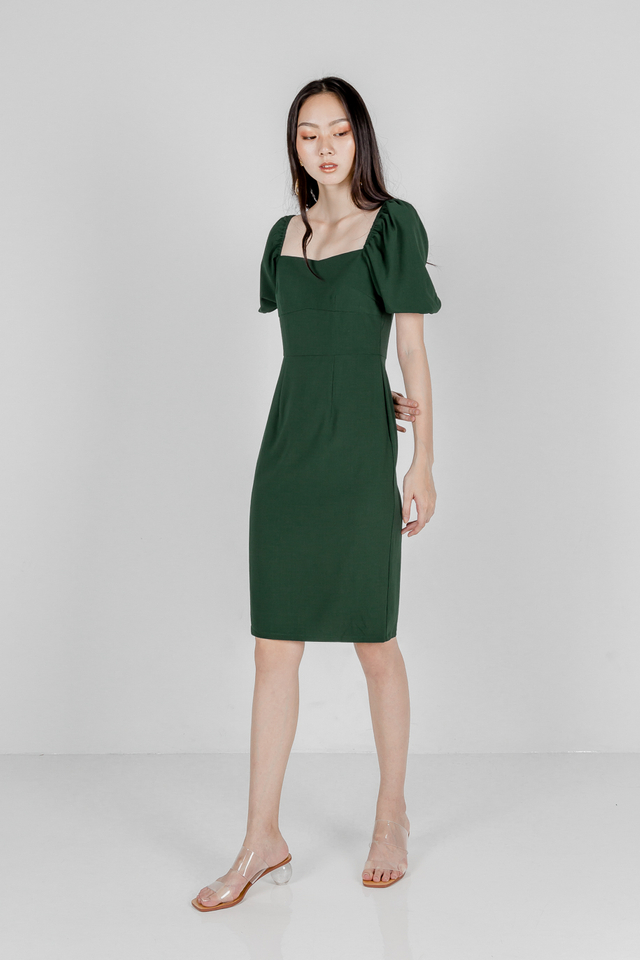 CAMILIA BODYCON SLEEVE DRESS (FOREST GREEN)