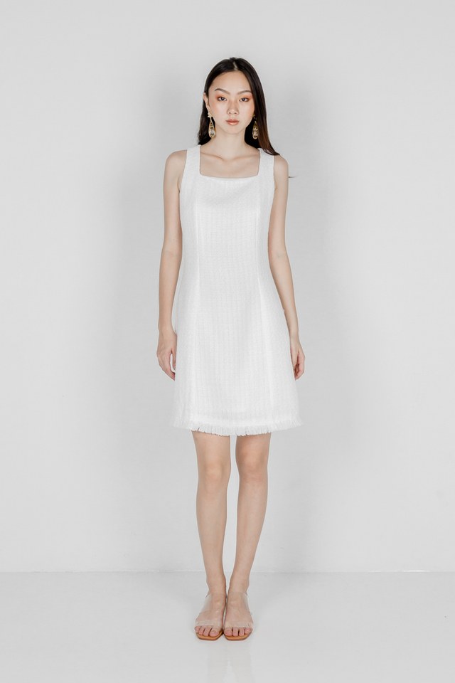ANASTASIA TWEED DRESS (WHITE)