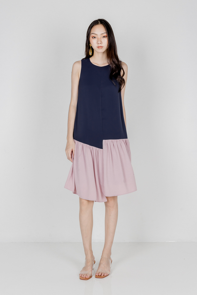 ARIA COLOUR BLOCK MIDI DRESS (NAVY/PINK)