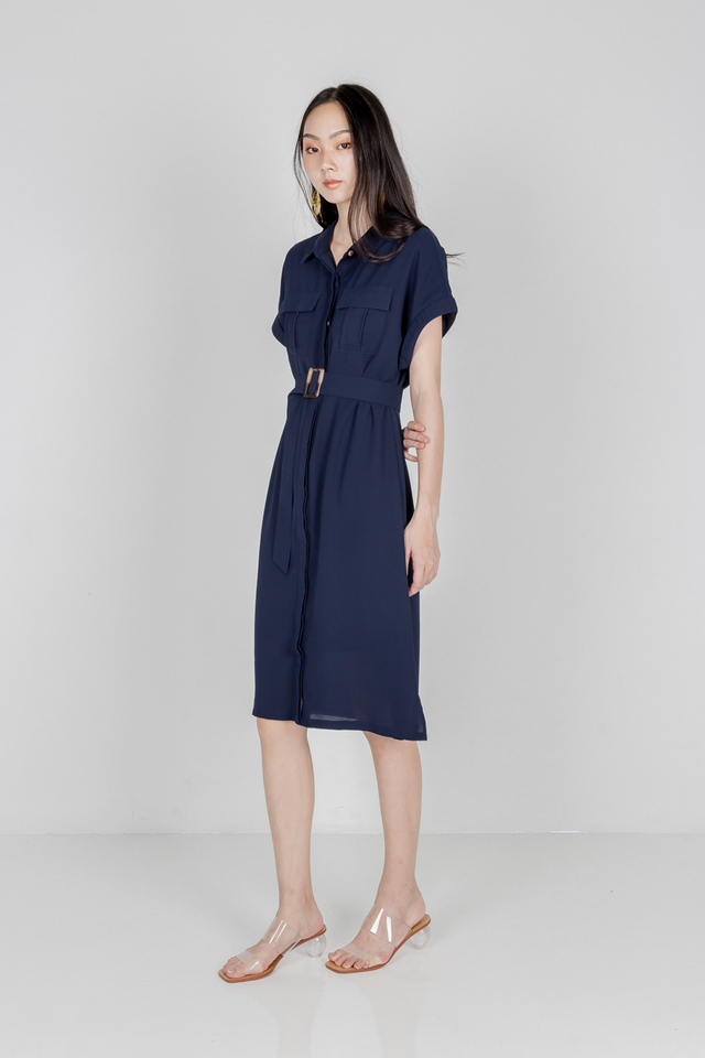 UTILITY BUCKLE SHIRT DRESS (NAVY)
