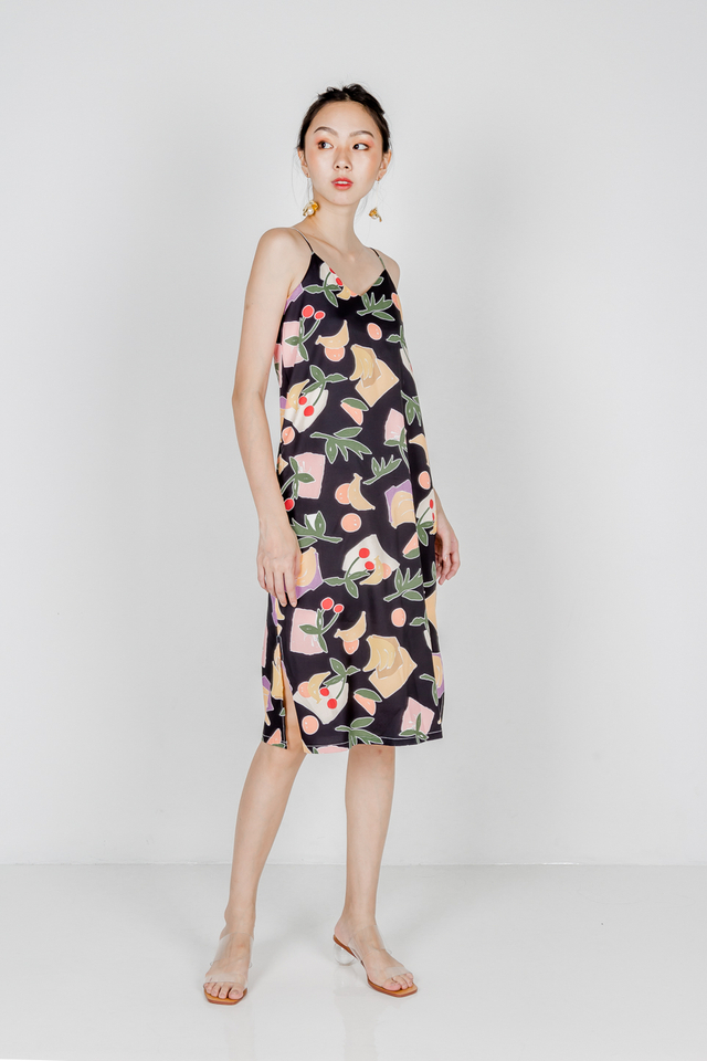 FRUITS REVERSIBLE SLIP DRESS (BLACK)