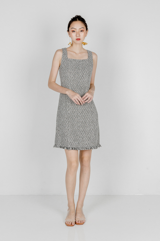 ANASTASIA TWEED DRESS (BLACK)