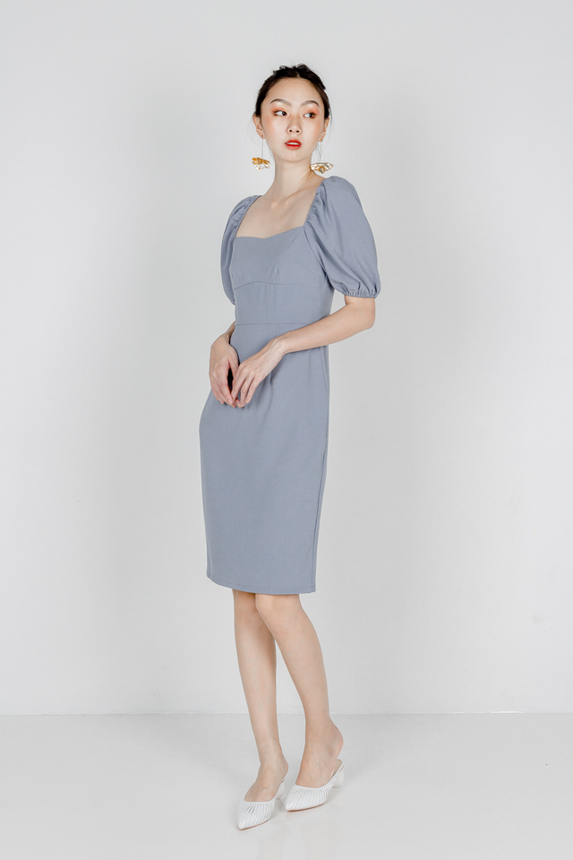 CAMILIA BODYCON SLEEVE DRESS (DUSTY BLUE)