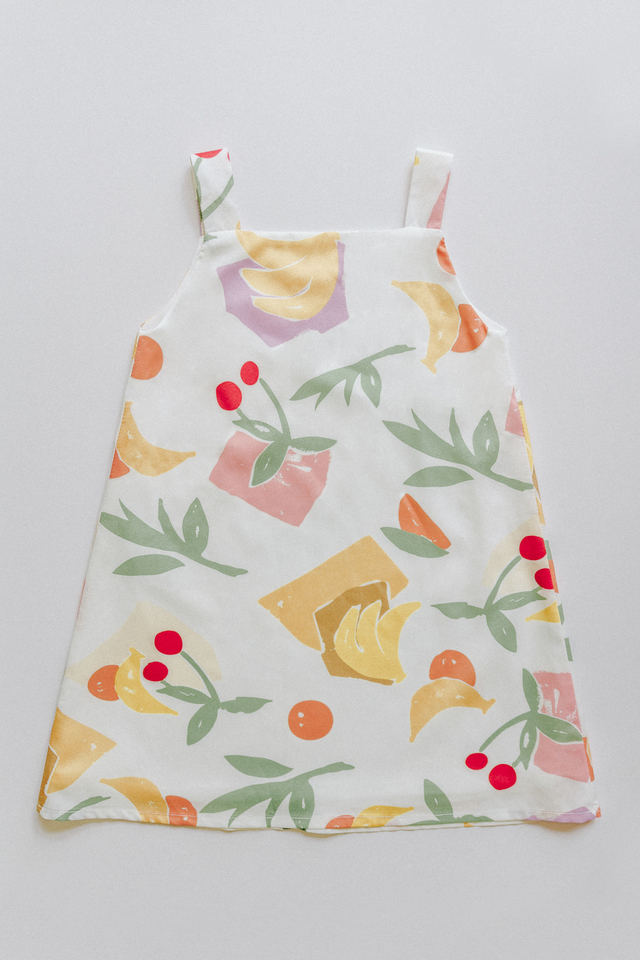 FRUITS PRINT TWO WAY DRESS (WHITE)