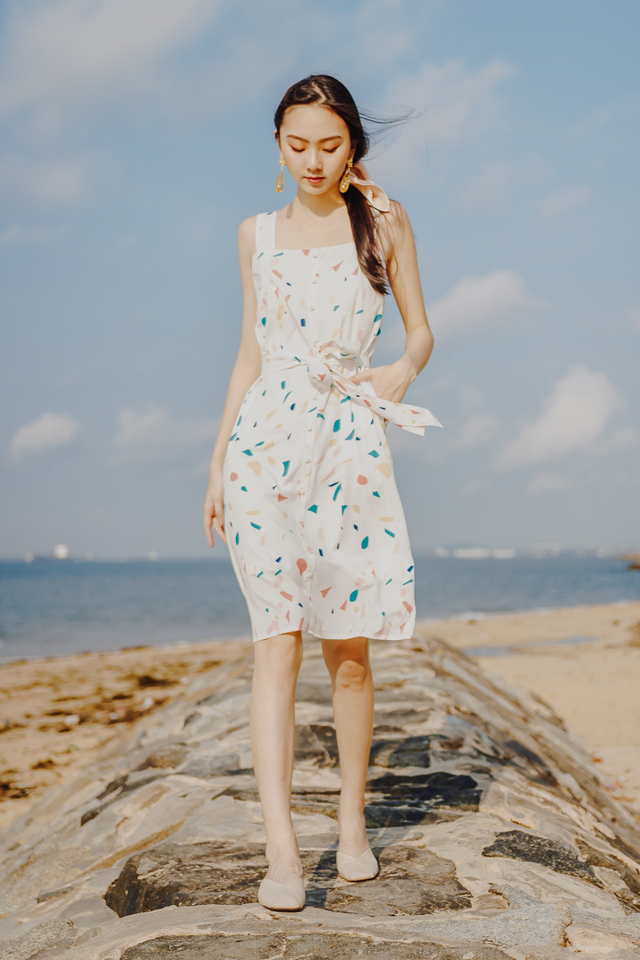 CONFETTI PRINT BUTTON MIDI (WHITE)