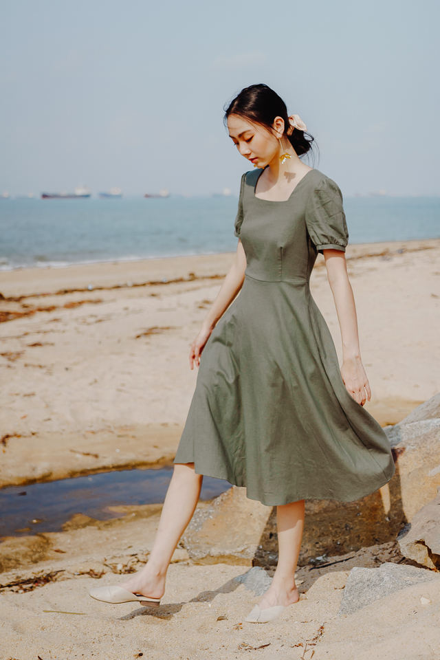 BEVERLY LINEN MIDI DRESS (MOSS GREEN)