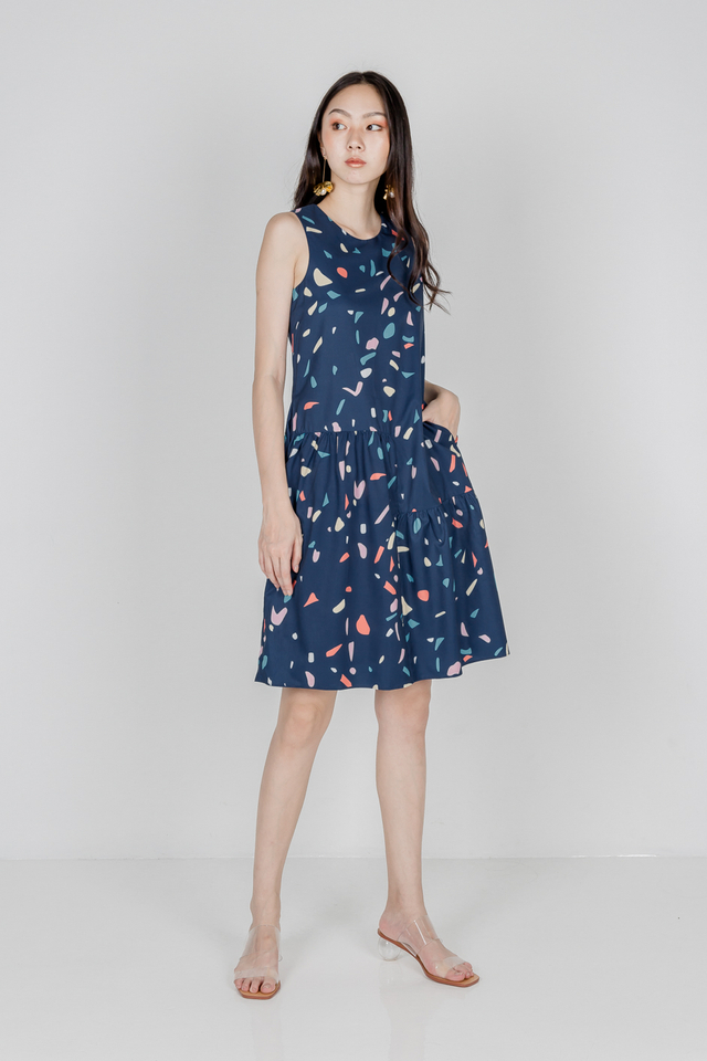 CAROL RUFFLE HEM MIDI DRESS (NAVY)