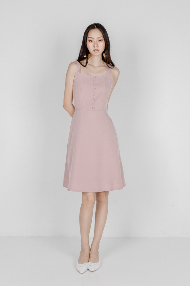 WINFRED BUTTON SKATER DRESS (DUSTY PINK)