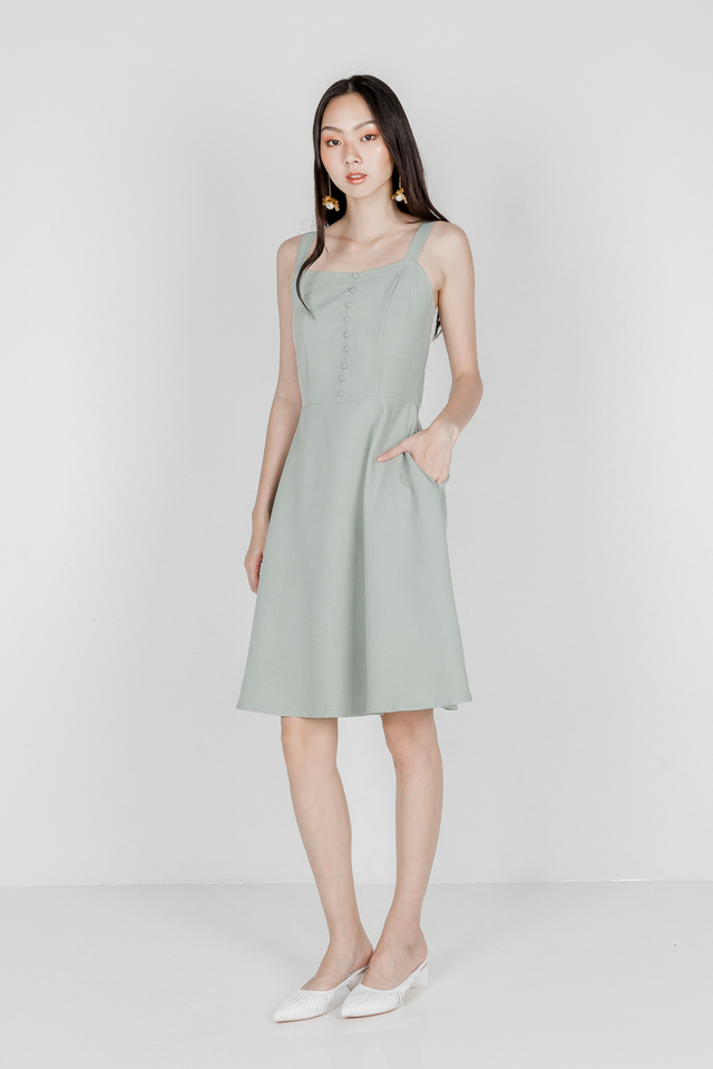 WINFRED BUTTON SKATER DRESS (SAGE GREEN)