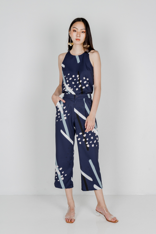 CLAIRE PRINTED PANTS (NAVY)