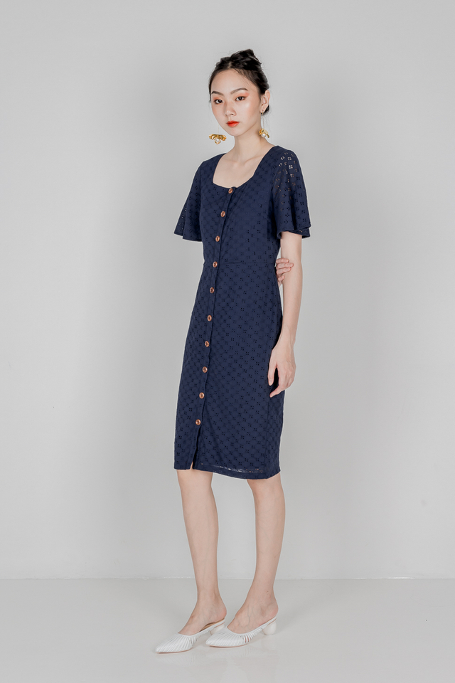 JERICA EYELET FLUTTER SLEEVE MIDI DRESS (NAVY)