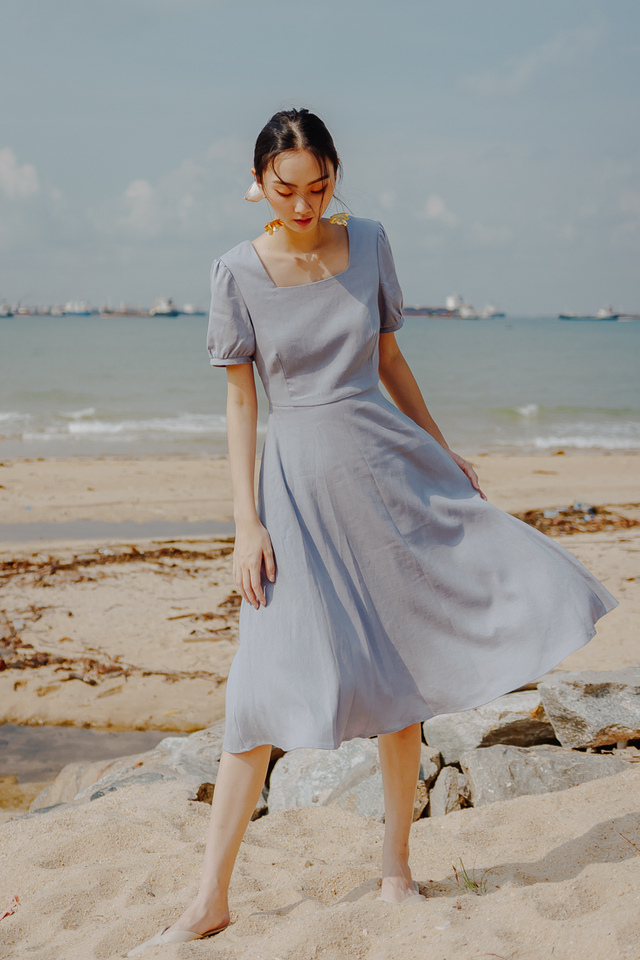 BEVERLY LINEN MIDI DRESS (LAVENDER BLUE)