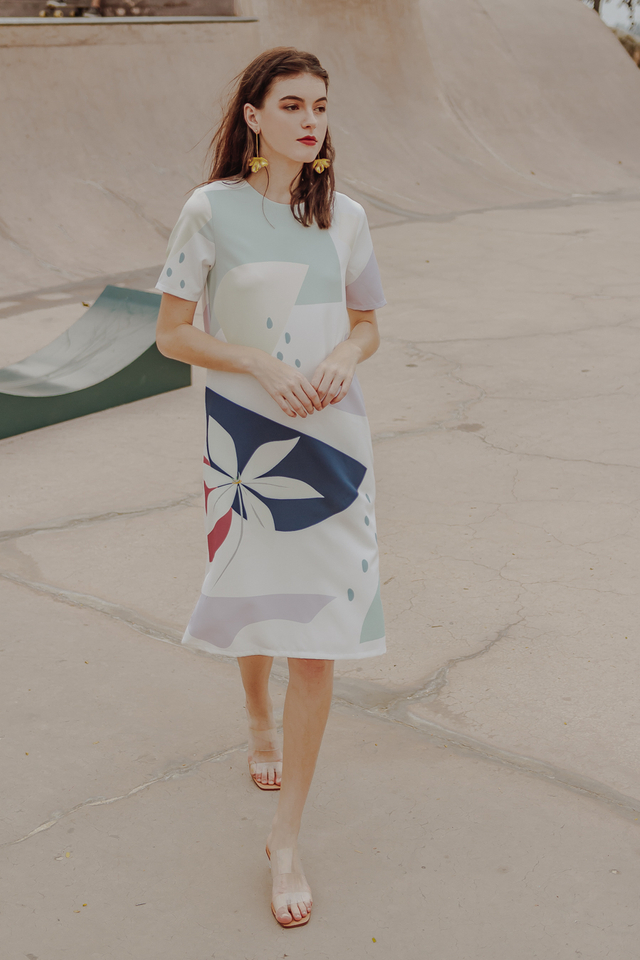 CALLA ABSTRACT MIDI DRESS (WHITE)