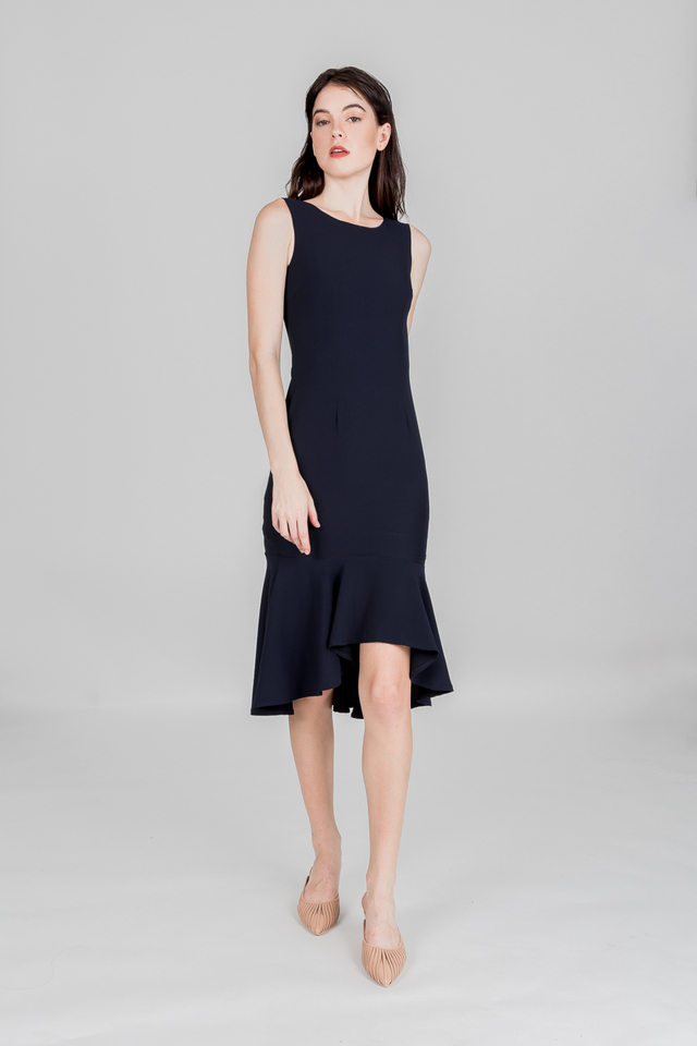 GRACIELLA MERMAID HEM DRESS (NAVY)