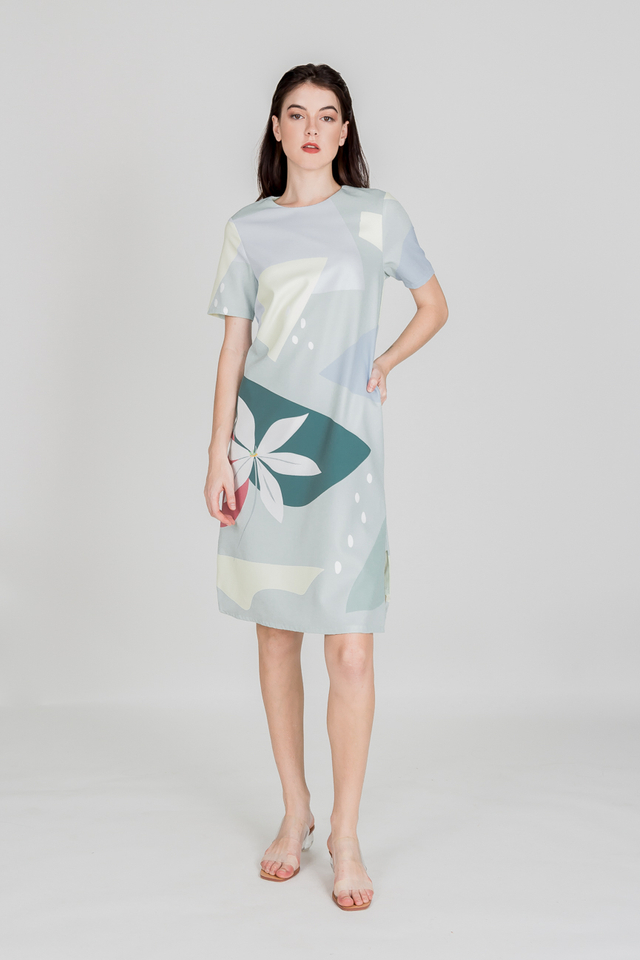 CALLA ABSTRACT MIDI DRESS (SAGE GREEN)
