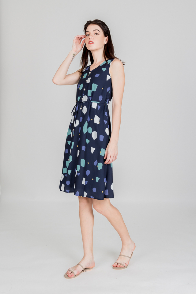 COLLATE ABSTRACT BUTTON MIDI (NAVY)