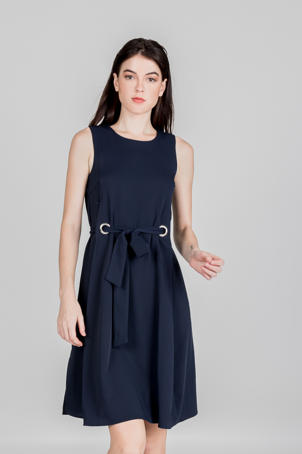 BUCKLE SASH DRESS (NAVY)