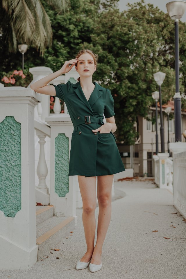 DARLA BELTED BLAZER DRESS (FOREST GREEN)