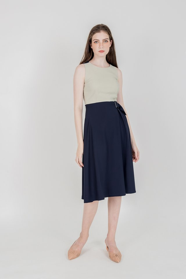 MIRA COLOURBLOCK BUCKLE MIDI