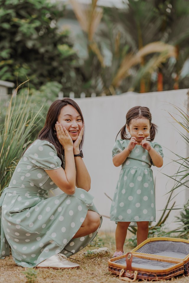 LITTLE NATALIA POLKADOT DRESS (MINT)
