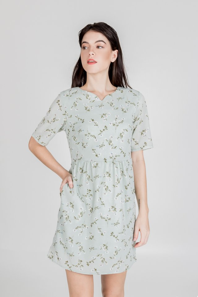 FLORAL BABYDOLL DRESS (MINT)