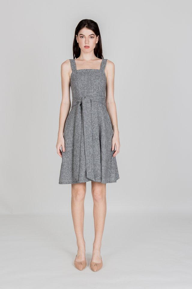 BETHANY TIE WAIST TWEED DRESS (DARK GREY)