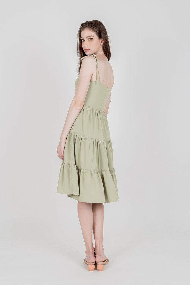 KIM TIERED KNOTTED DRESS (SAGE GREEN)