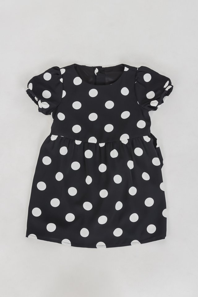 LITTLE NATALIA POLKADOT DRESS (BLACK)