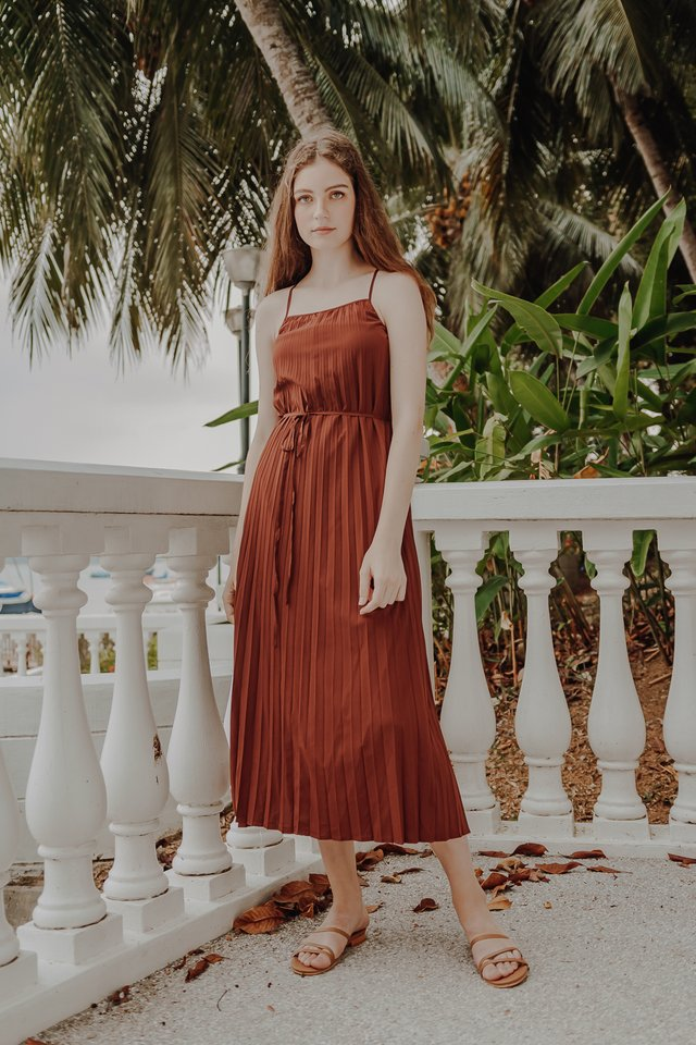REVERSIBLE PLEAT DRESS (BROWN)
