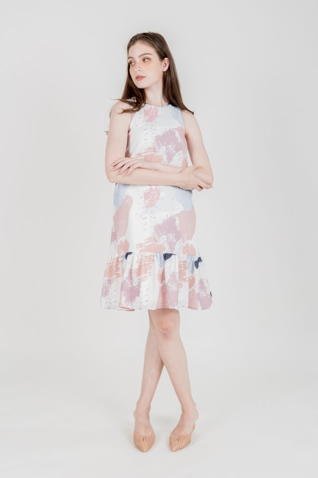 MOIRA ABSTRACT DROP WAIST DRESS (PINK)