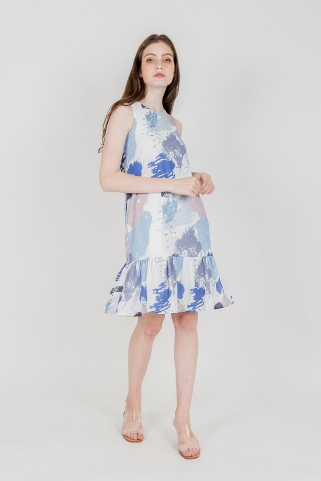 MOIRA ABSTRACT DROP WAIST DRESS (BLUE)